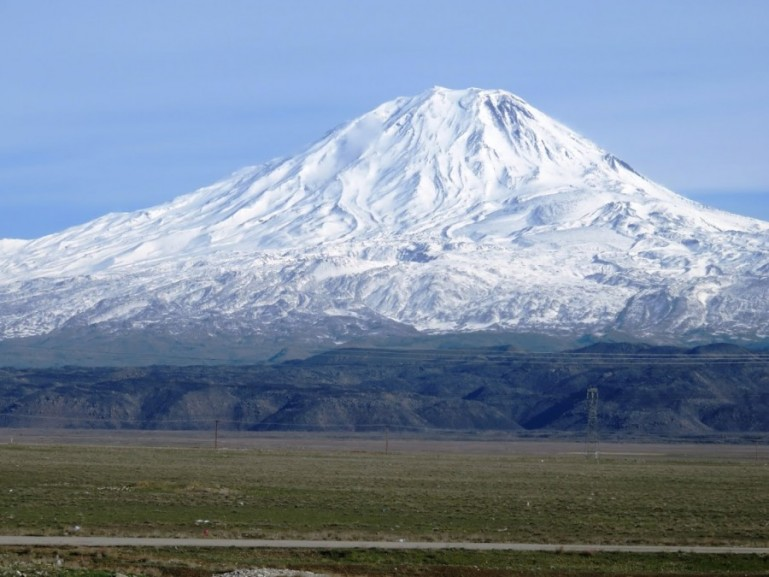 Mount Ararat visible from the Turkey to Iran border crossing