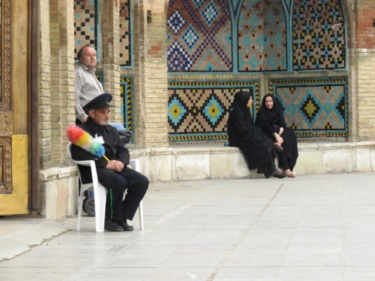 men and woman at a mosque in Qazvin in Iran