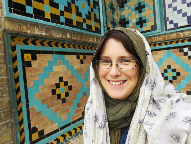 me at a mosque in qazvin during my solo female travel in Iran