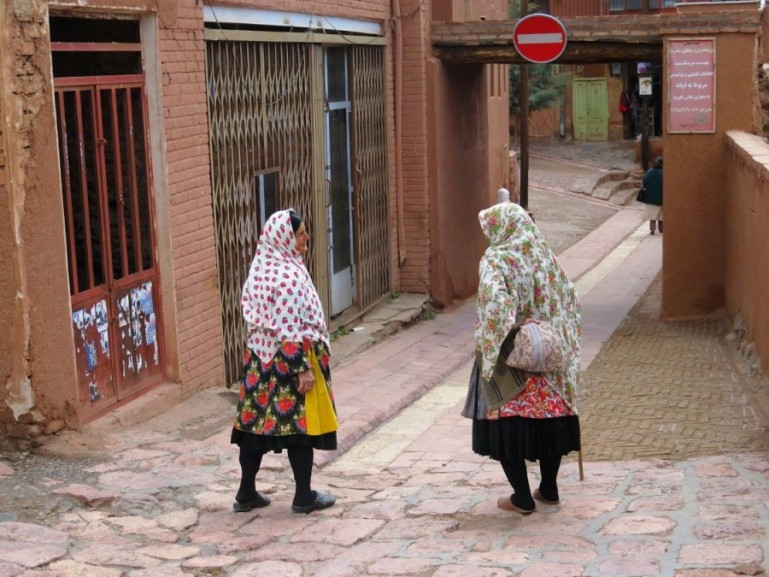Women wearing traditional chador in Abyaneh