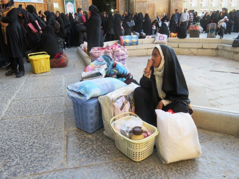 women in line waiting to enter the Shah mosque during the birthday of imam Ali in Isfahan