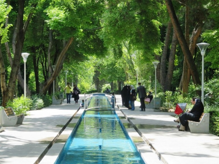 The gardens of Hasht Behesht palace in Isfahan Iran