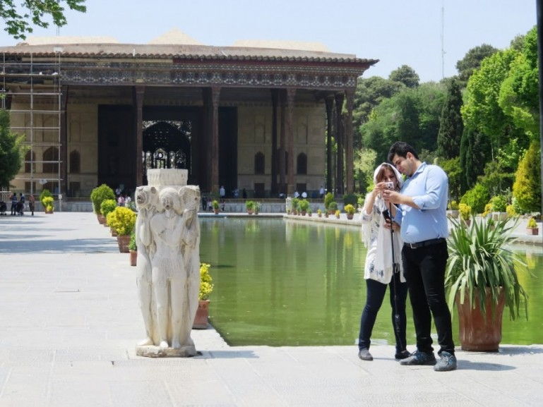 the Chehel Sotun palace in Isfahan Iran