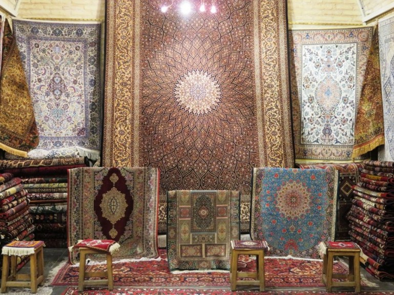 Carpets for sale in the bazaars in Iran