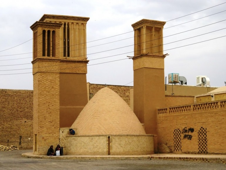 Traditional Ab anbar with wind towers in Nain Iran
