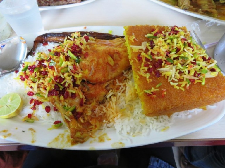 Tahceen rice from moslem restaurant in Tehran. Persians are experts in making rice