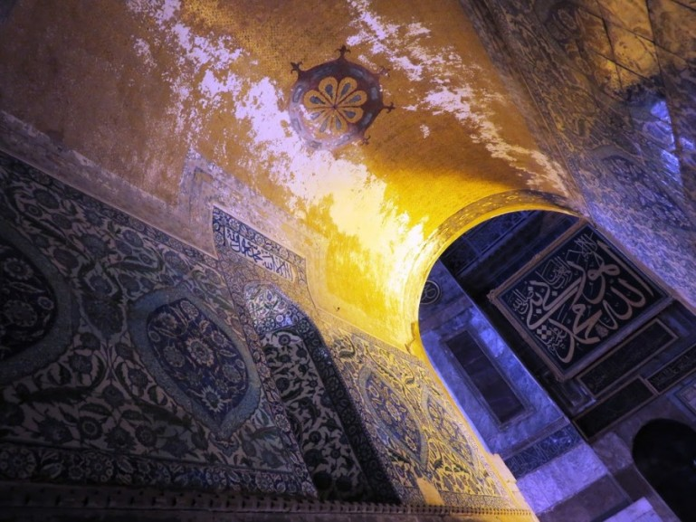 The inside of the Hagia Sophia in Istanbul
