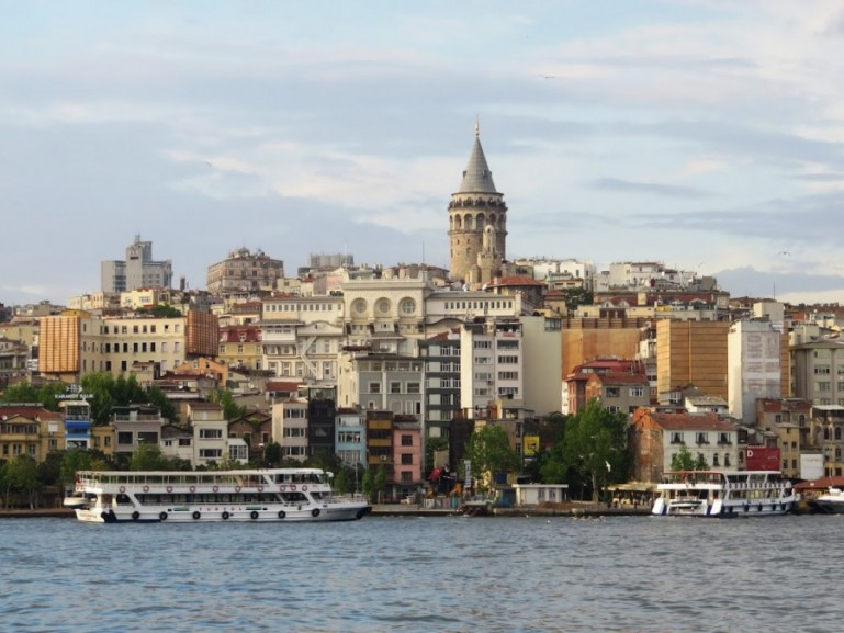 view on the Galata tower from the Galata bridge in Istanbul