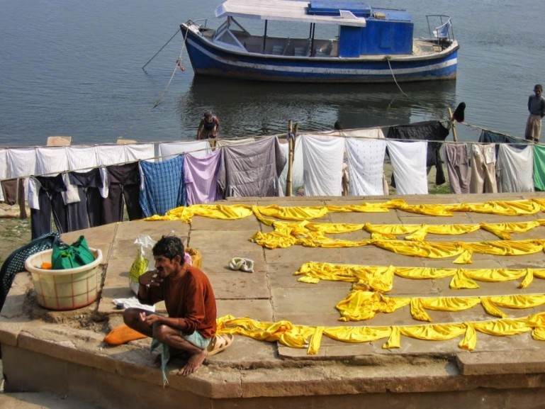 Clothes hanging to dry at Pandey Ghat in Varanasi.
