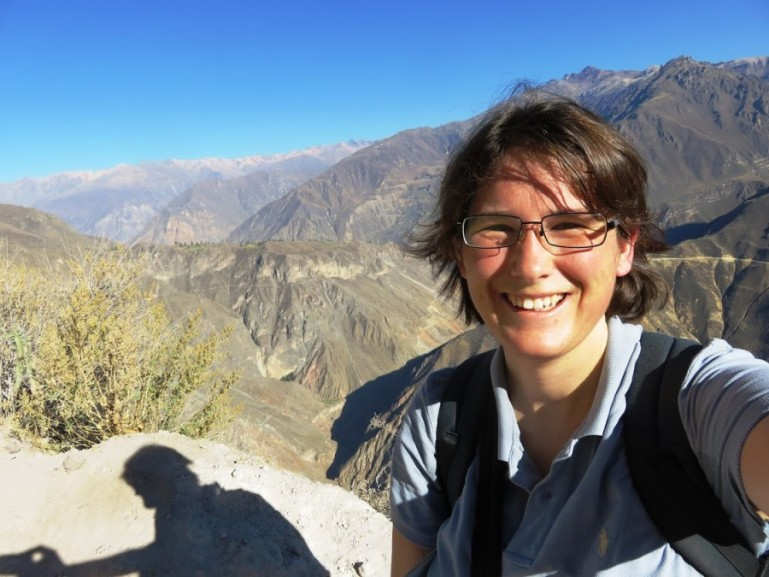 me feeling light headed because of altitude sickness in the Colca Canyon and getting ready for the Colca Canyon trek