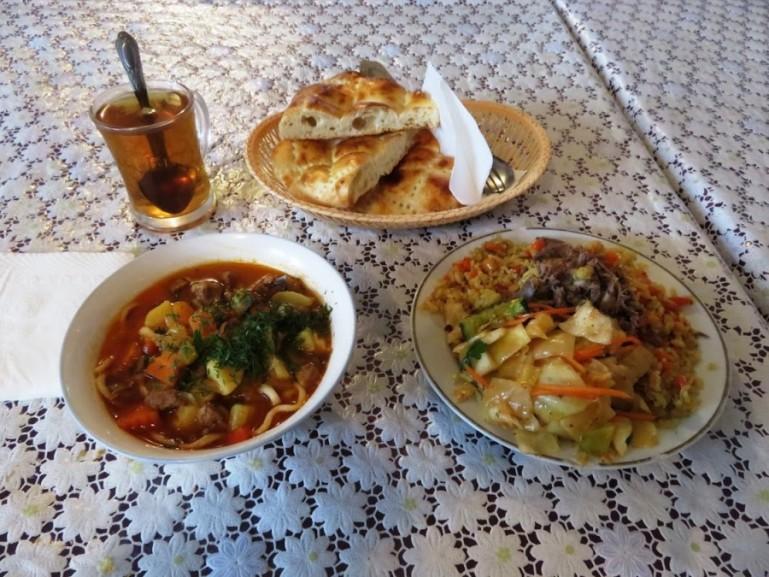 Kazakh food at the bazaar in Shymkent Kazakhstan