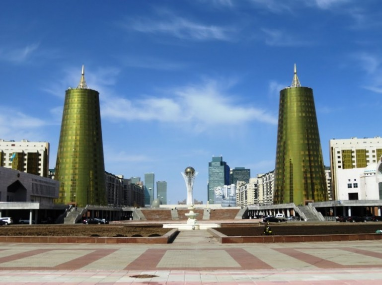The view on the golden towers and Bayterek tower in Nursultan Astana