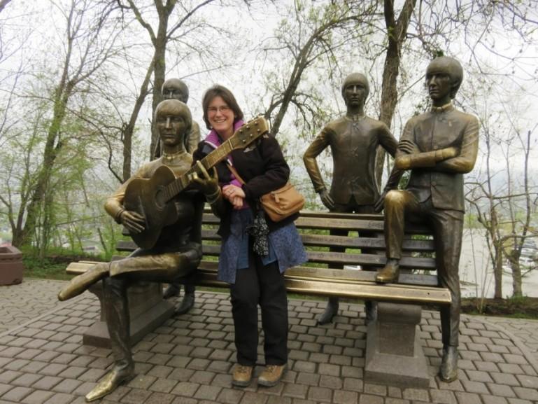 Beattle statue at Kok tobe in Almaty Kazakhstan
