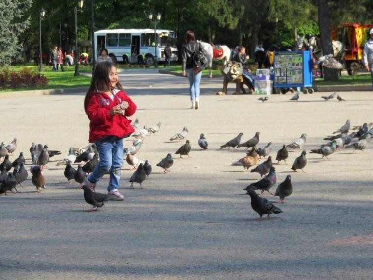 Girl feeding pigeons at Panfilov park in Almaty Kazakhstan