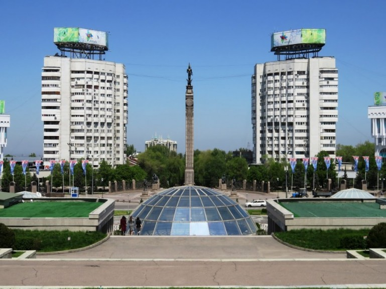 Independence Monument in Republic square at Almaty