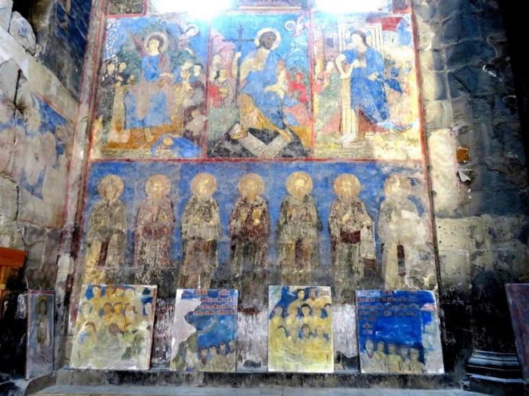frescoes in the Akhtala monastery in the Debed Canyon in Armenia