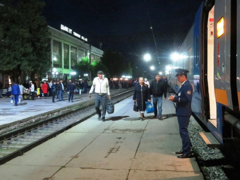Boarding the night train from Shymkent to Almaty in Kazakhstan