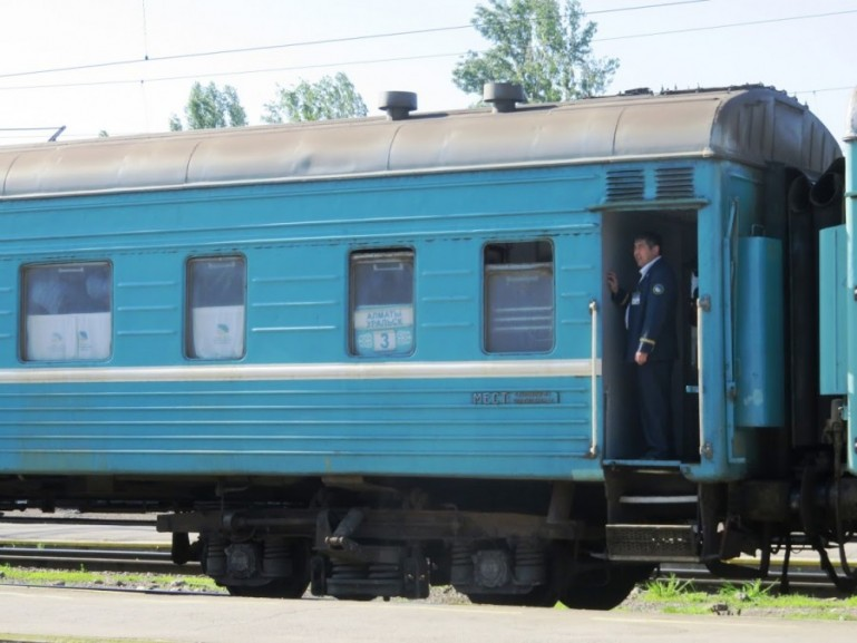 The older blue trains in Kazakhstan are an adventurous way to travel throughout the country