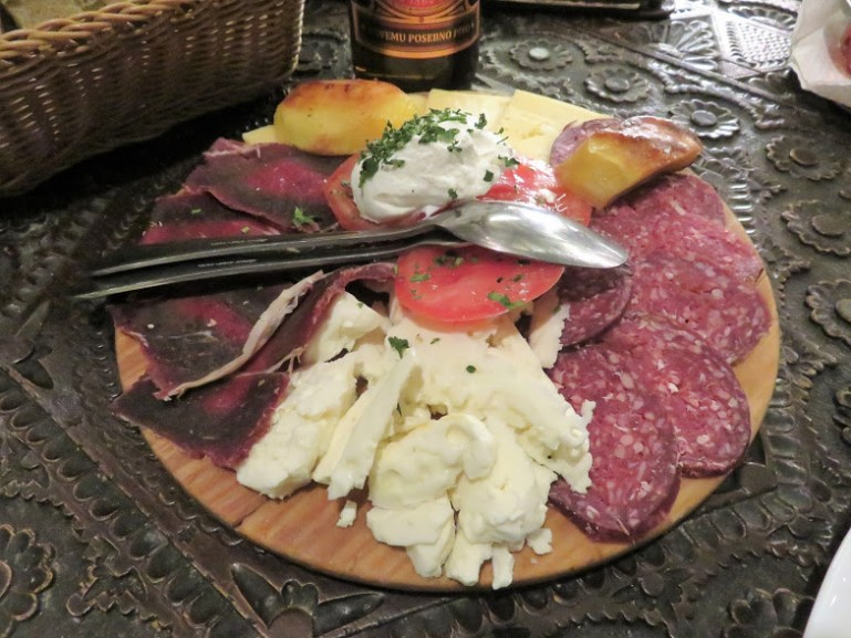 Bosnian appetizers of dried meat and cheese