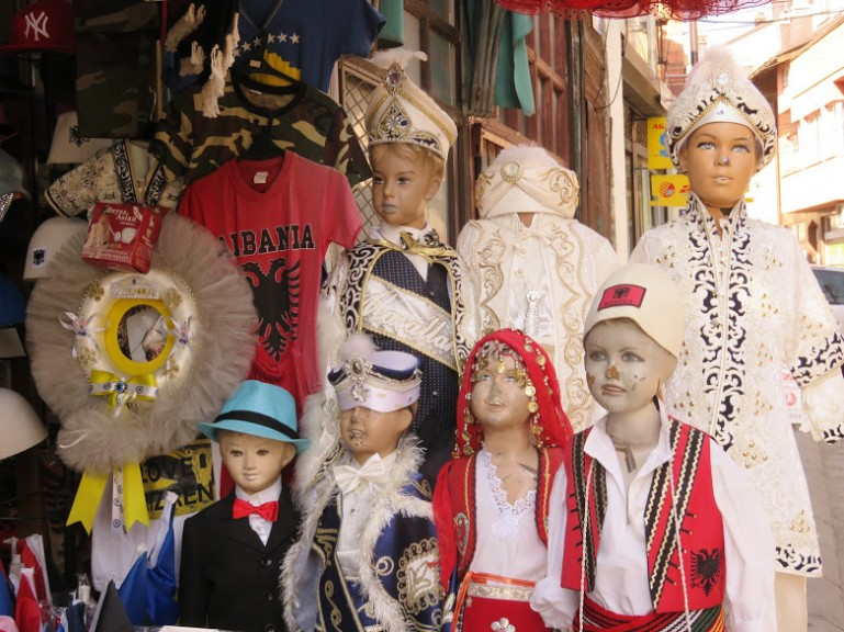 Traditional Kosovar clothes at a market in Prizren
