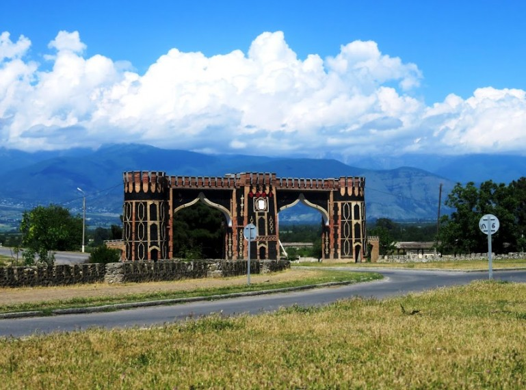 Entrance gate to Sheki near Sheki station