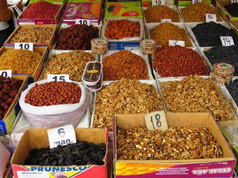 Dried nuts in Sheki market