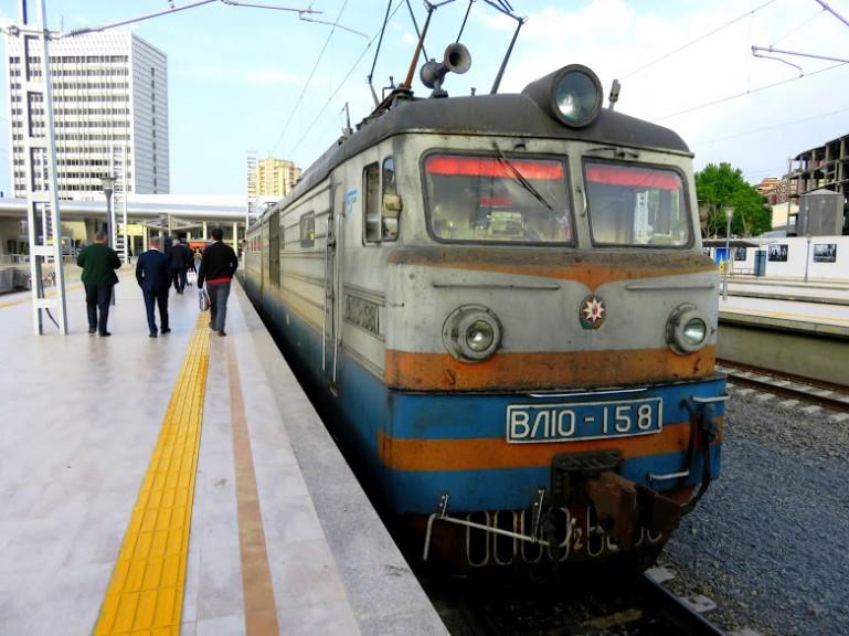The train from Sheki to Baku at Baku train station