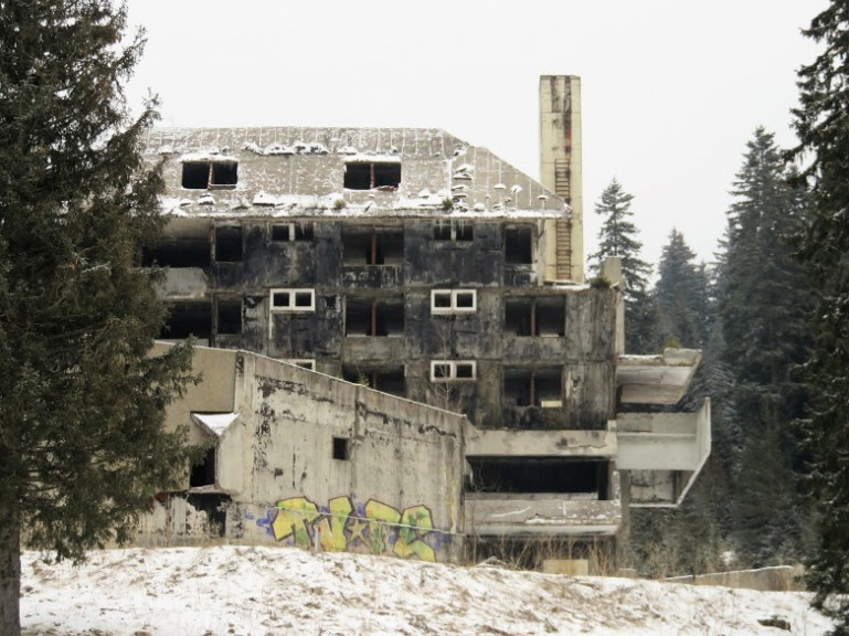 Abandoned Olympic hotel in Igman Bosnia