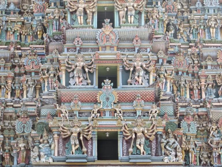 Detailed Snapshot of one of the gopurams at the Madurai Meenakshi temple