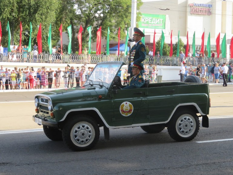 Military jeep at the parade during Transnistria's independence day in Tiraspol