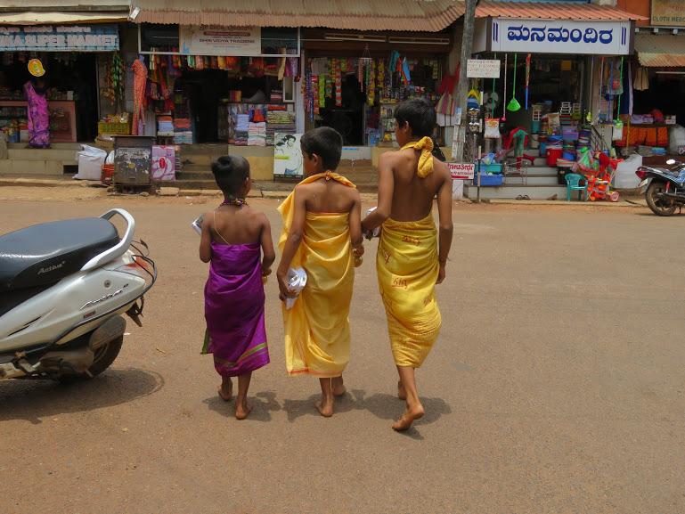 three Hindu boys in Gokarna town