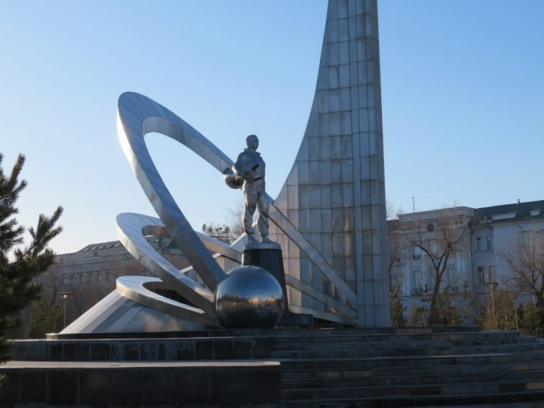 Gagarin monument in Karaganda