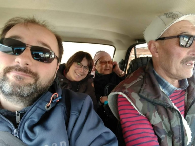 A shared taxi in Kazakhstan. Shared taxi's are a great way to travel around the country