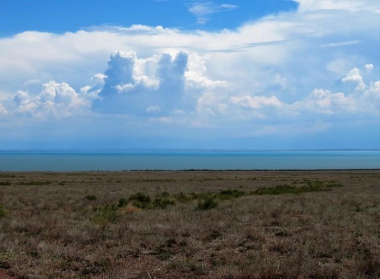 Altyn Emel and lake Kapchagai Kazakhstan