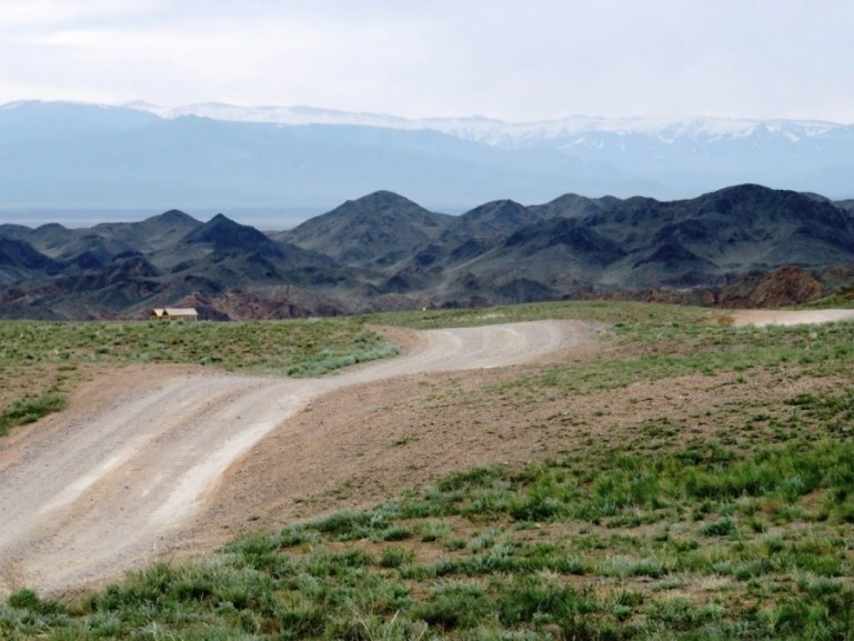 The road to the Charyn Canyon in Kazakhstan