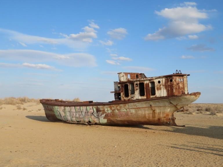abandoned ship in the ship graveyard of Moynaq Uzbekistan