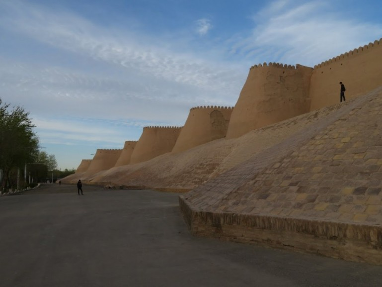 The city walls of the old town of Khiva Uzbekistan