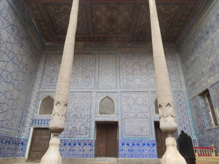 Interior decorations in the Kuhna Arc in the old town of Khiva Uzbekistan