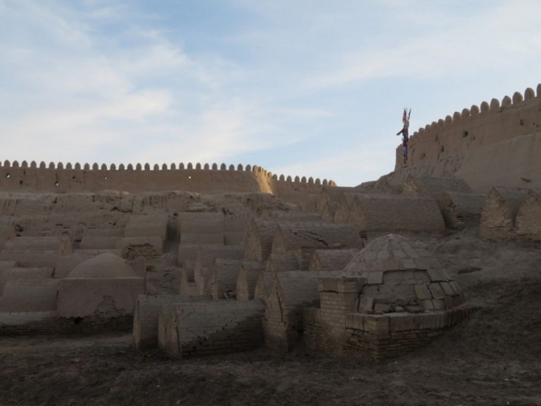 old mausoleums in the old town of Khiva Uzbekistan