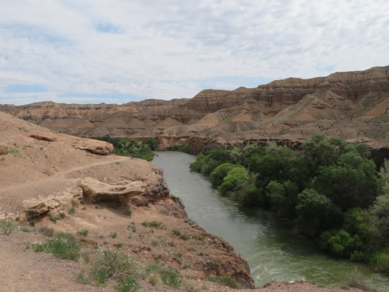 A viewpoint on the road to the Charyn Canyon in Kazakhstan