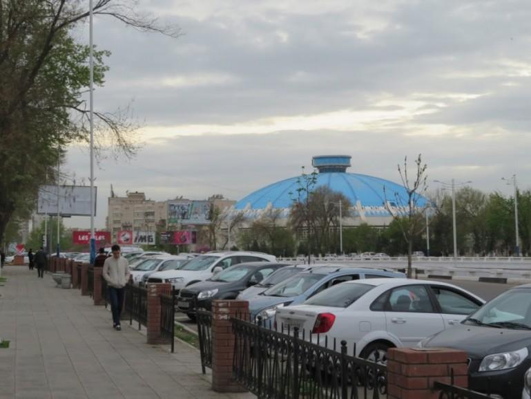 View on the Tashkent circus from National Food in Tashkent