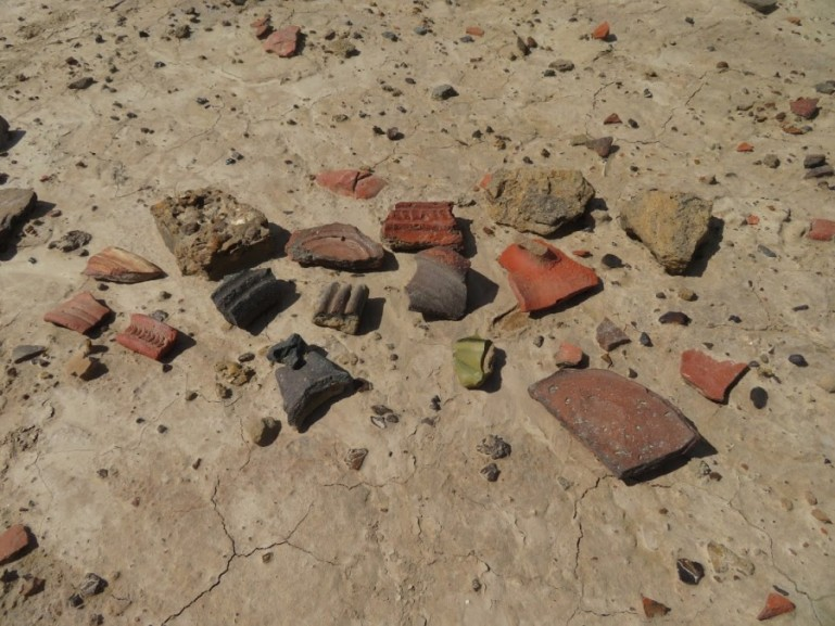 Pottery shards in one of the Khorezm fortresses