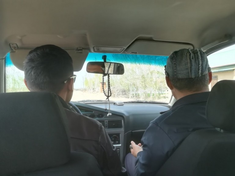 A shared taxi in Uzbekistan from Khiva to Bukhara