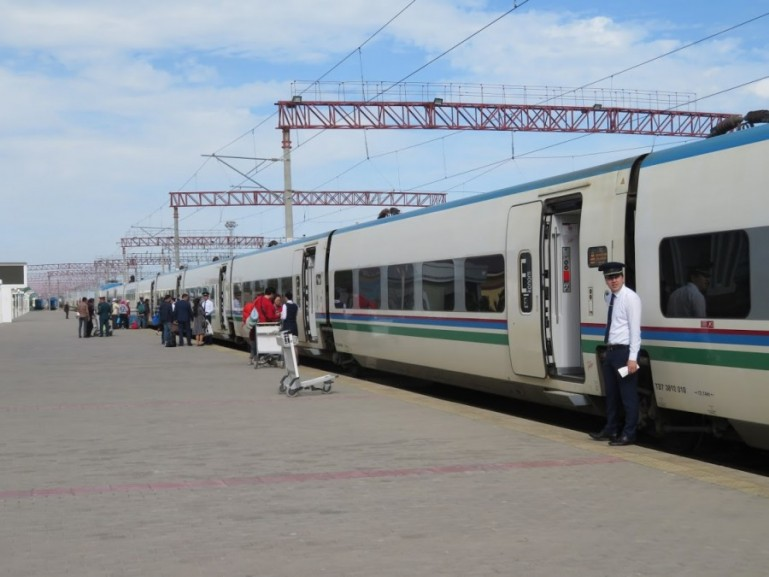 The Afrosiyob train from Bukhara to Samarkand at a station in Uzbekistan