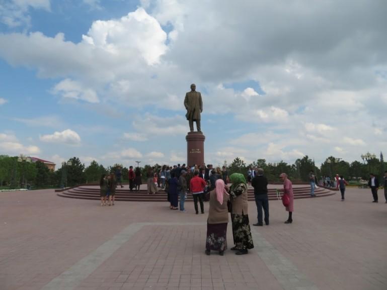 Karimov statue in Samarkand Uzbekistan
