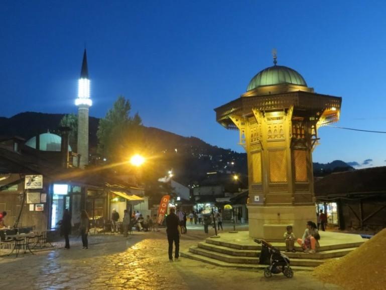 The Sebilj fountain in the Bascarsija at night
