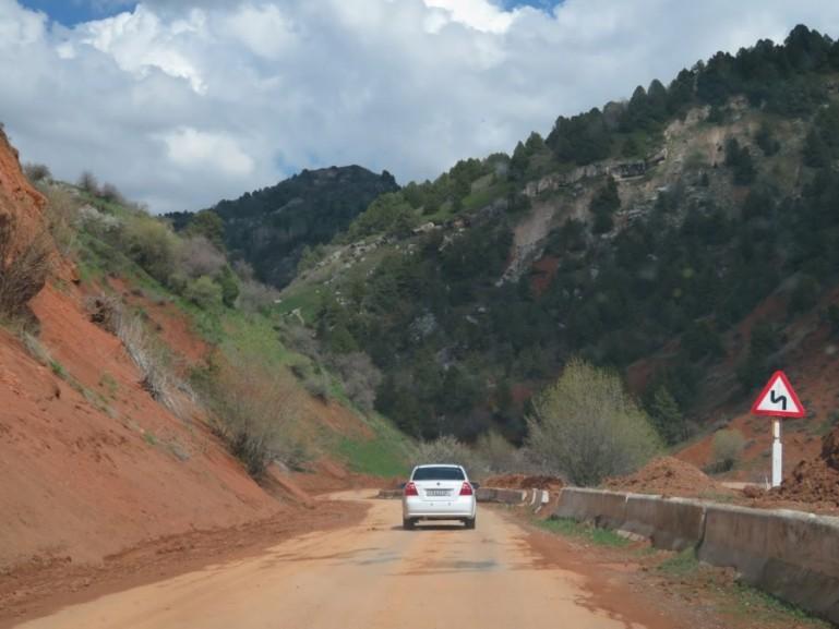 The road from Tashkent to CHimgan Mountains and Charvak lake Uzbekistan