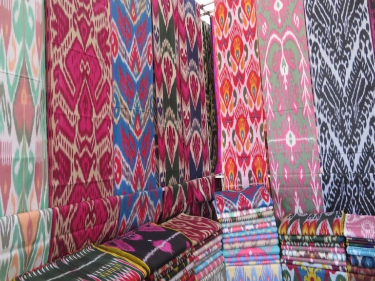 Ikat silk at the market of Margilon in the Fergana Valley Uzbekistan