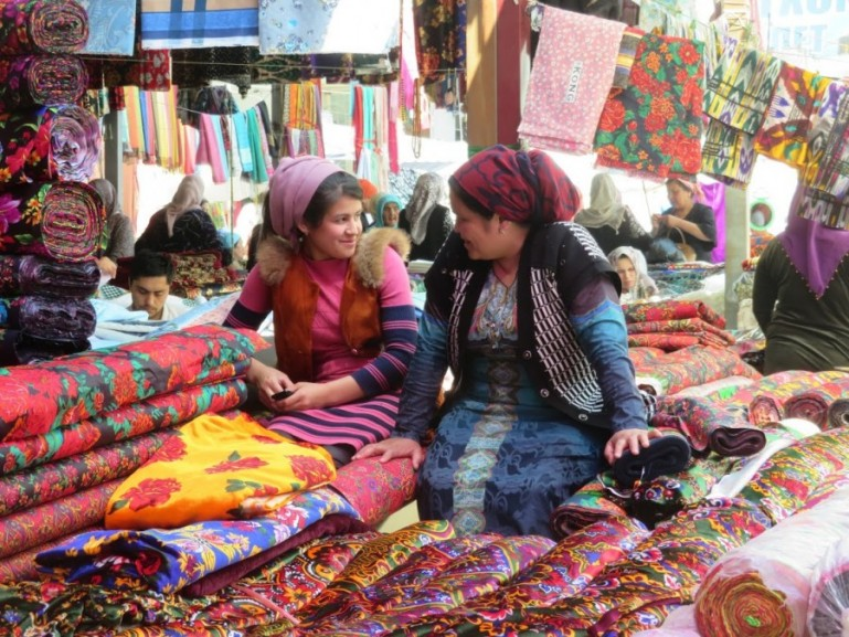 Margilon bazaar in the Fergana Valley in Uzbekistan