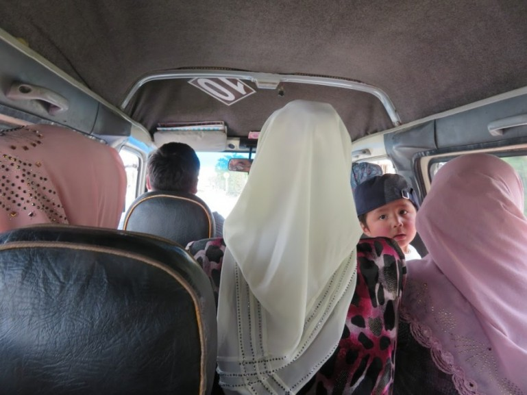 A shared taxi in Uzbekistan. Shared taxi's are a great way to travel around the country